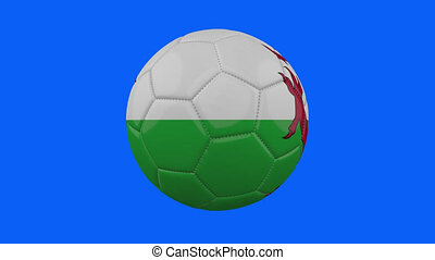 Wales flag on ball rotates on transparent blue alpha background, loop