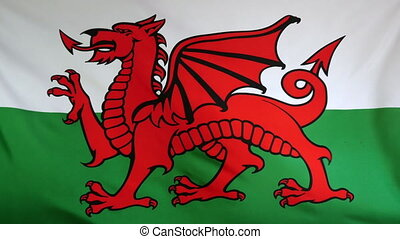 Wales Flag real fabric Close up - Textile flag of Wales with...