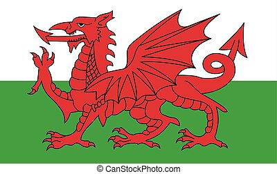 Wales flag, red dragon on the white and green, vector...