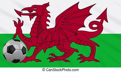 Wales flag waving and football rotates, loop - Wales flag...
