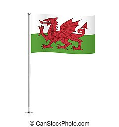 Wales flag waving on a metallic pole.