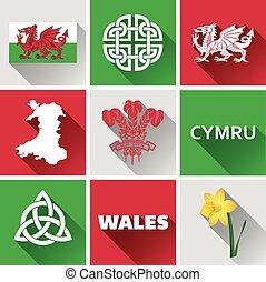 Wales Flat Icon Set 1