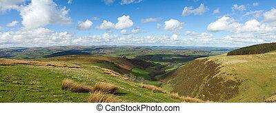 wales, landschaftlich, hügel, panorama, ansicht, von, der, mynydd, epynt.