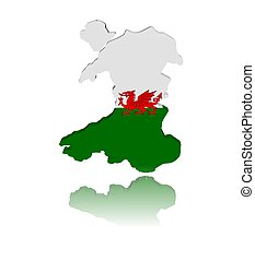 Wales map flag 3d render with reflection illustration