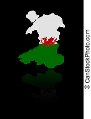 Wales map flag with reflection illustration