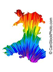Wales - map is designed rainbow abstract colorful pattern