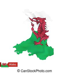 Wales map with waving flag of country.