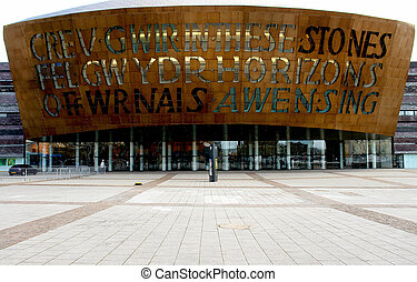Wales millennium centre fa?ade, Cardiff, UK.