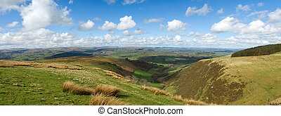 Wales scenic hills panorama, view from the Mynydd Epynt.