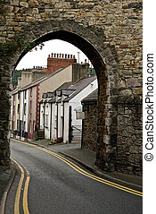 Wales - Homes in a row in Conway, Wales, England, United...