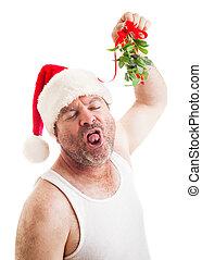 walgelijk, geil, kerstmis, maretak, kerel