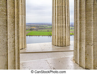 Walhalla memorial in Gerrmany - scenery with columns at the...