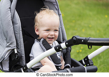 walk., 乗り物, 赤ん坊, 微笑, 子供, 幸せ