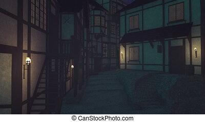 Walk along the old street at night