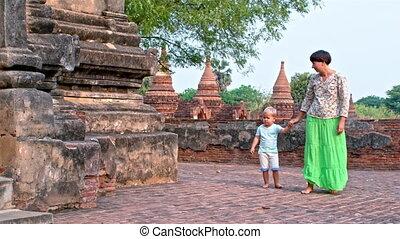walk along the temple walls