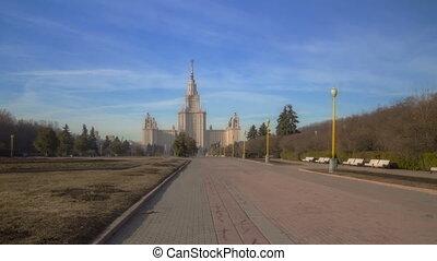Walk along to Lomonosov Moscow State University. Motion timelapse hyperlapse