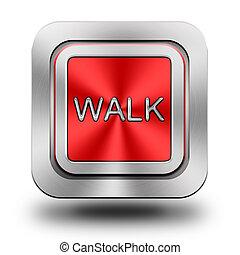 Walk aluminum glossy icon, button