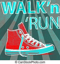 Walk and run concept modern art sneakers. Youth sneakers for Your business project. Vector Illustration