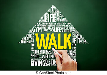 WALK arrow word cloud collage
