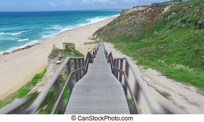 Walk Down via Wooden Stairs with Railing, timelapse