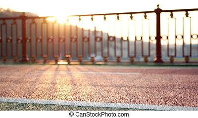 Walk feet sport sunset - Sport bike feet walking at sunset