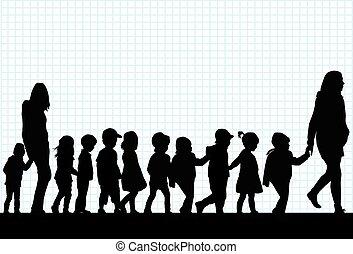 walk., groep, kinderen
