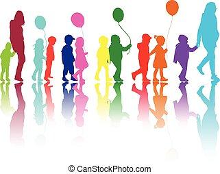 walk., gruppo, bambini