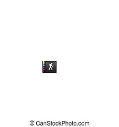 walk icon on square internet button