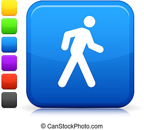walk icon on square internet button - Original vector icon. ...