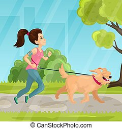 Walk in city park vector illustration in flat style