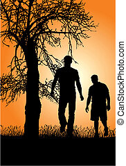 Walk in nature - Silhouettes of people in nature, sunset, ...