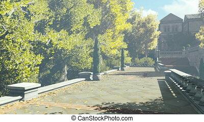Walk in the autumn courtyard