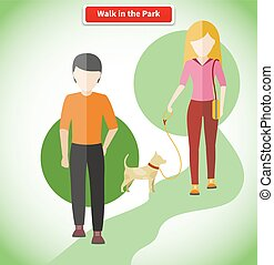 Walk in the Park with Dog Concept