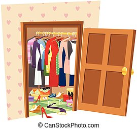 Walk in wardrobe - An image of a large walk in wardrobe or ...
