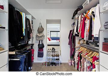 Walk in wardrobe in Australian masnsion
