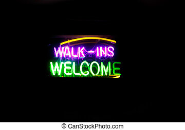 Walk-Ins Welcome - Neon sign Walk-Ins Welcome in purple and...
