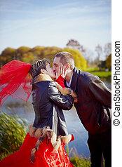 walk., kiss., wedding.