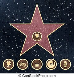 Walk of fame star granite sign on sidewalk with Hollywood Film Academy categories vector icons