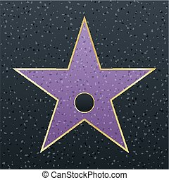 Walk of fame star illustration. Famous reward symbol. Achievement of actor celebrity. Hollywood vector success design. Fame symbol