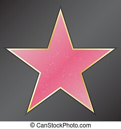 Walk of fame star with emblems symbolize five categories. Hollywood, famous sidewalk, boulevard actor. Vector illustration