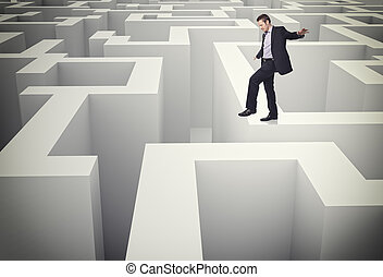 walk on maze - caucasian man walk on 3d maze