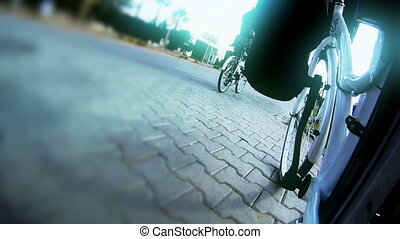 Walk on the bicycle
