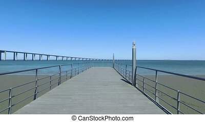 Walk on the Pier Near the Vasco da Gama Bridge