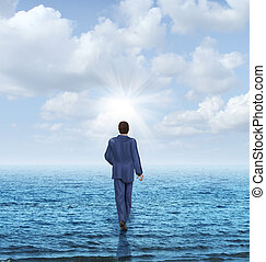 Walk On Water - Walk on water with a businessman walking on...