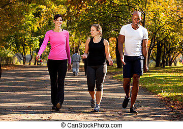 Walk Park - Three people walking in a park, getting some...