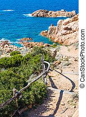 Walk path to the sea in Costa Paradiso
