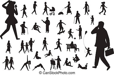 Walk people silhouette. Black figures of happy children woman young lady working man, walking person vector isolated set