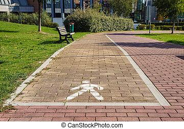 Walk sign , Walkway lane in the urban city park