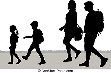 walk., silhouette, familie