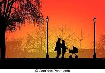 walk., silhuetas, família, pessoas